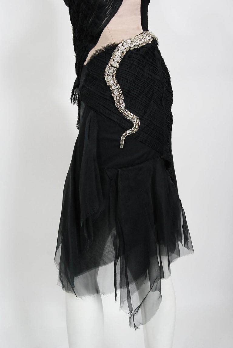 2004 Gucci by Tom Ford Runway Black Silk Crystal-Snake Strapless Finale Dress For Sale 5