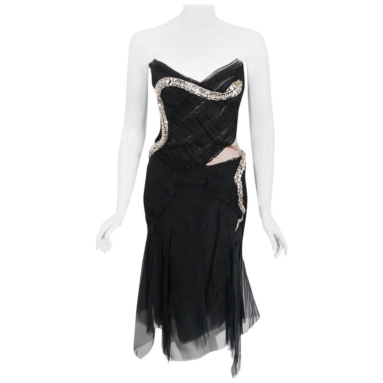 2004 Gucci by Tom Ford Runway Black Silk Crystal-Snake Strapless Finale Dress For Sale