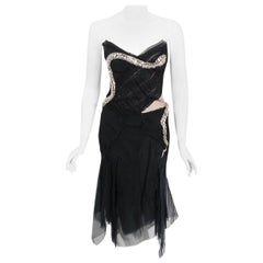2004 Gucci by Tom Ford Runway Black Silk Crystal-Snake Strapless Finale Dress