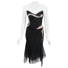 Vintage 2004 Gucci by Tom Ford Runway Black Silk Crystal-Snake Finale Dress