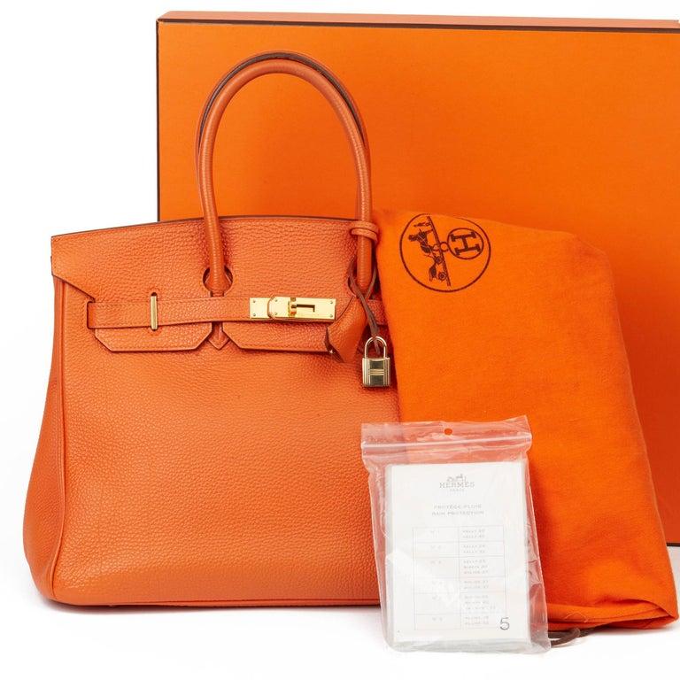 2004 Hermès Orange H Togo Leather Birkin 35cm For Sale 6