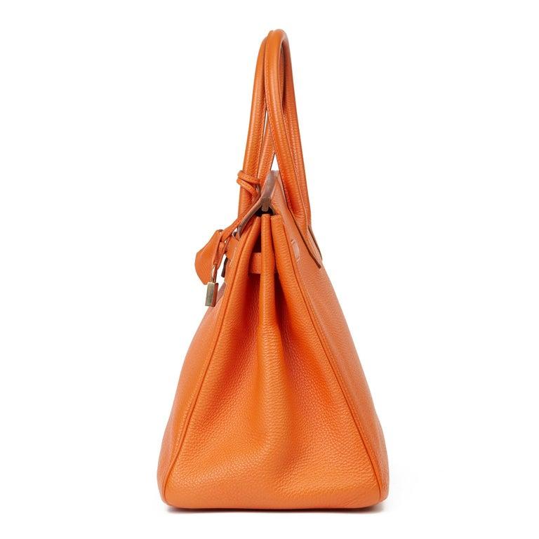 2004 Hermès Orange H Togo Leather Birkin 35cm In Good Condition For Sale In Bishop's Stortford, Hertfordshire
