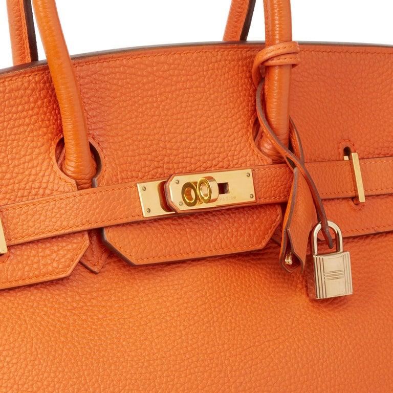 2004 Hermès Orange H Togo Leather Birkin 35cm For Sale 2
