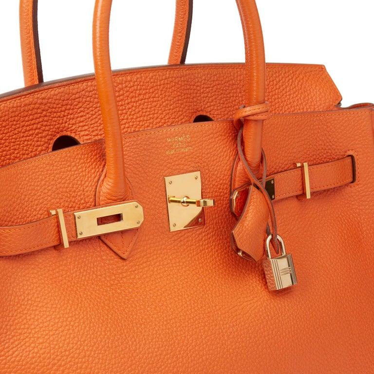2004 Hermès Orange H Togo Leather Birkin 35cm For Sale 3