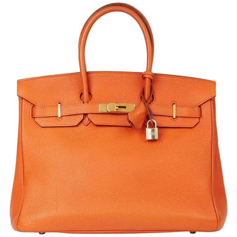 2004 Hermès Orange H Togo Leather Birkin 35cm For Sale