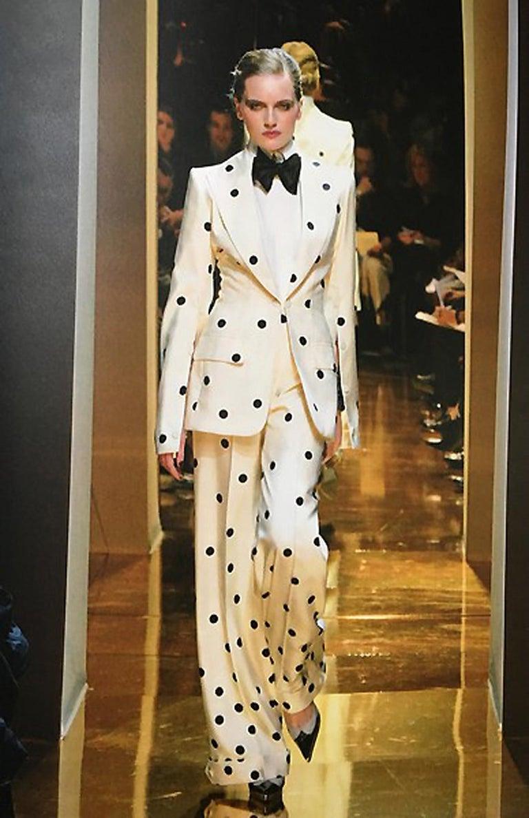 2004 Jean Louis Scherrer Couture Ivory Polka Dot Silk