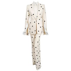 2004 Jean-Louis Scherrer Couture Ivory Polka Dot Silk Split-Sleeve Jacket Suit