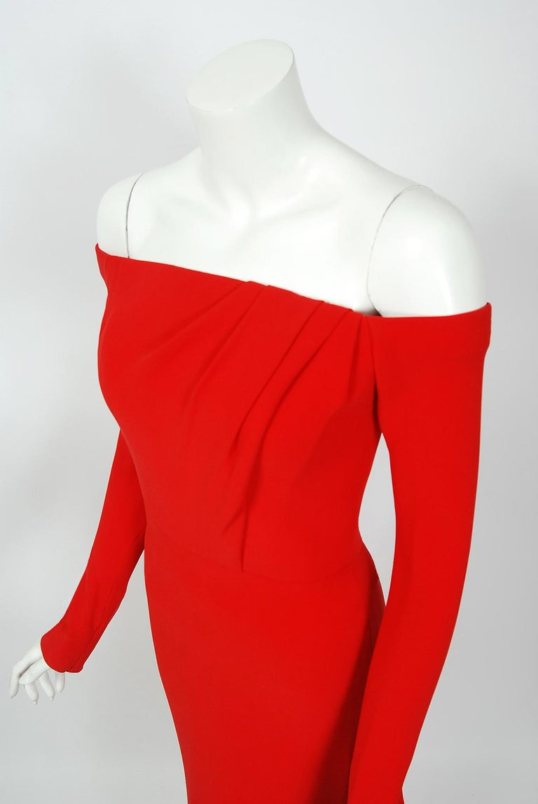 2004 Jean-Louis Scherrer Couture Red Silk Crepe Draped Off-Shoulder Trained Gown In Good Condition For Sale In Beverly Hills, CA