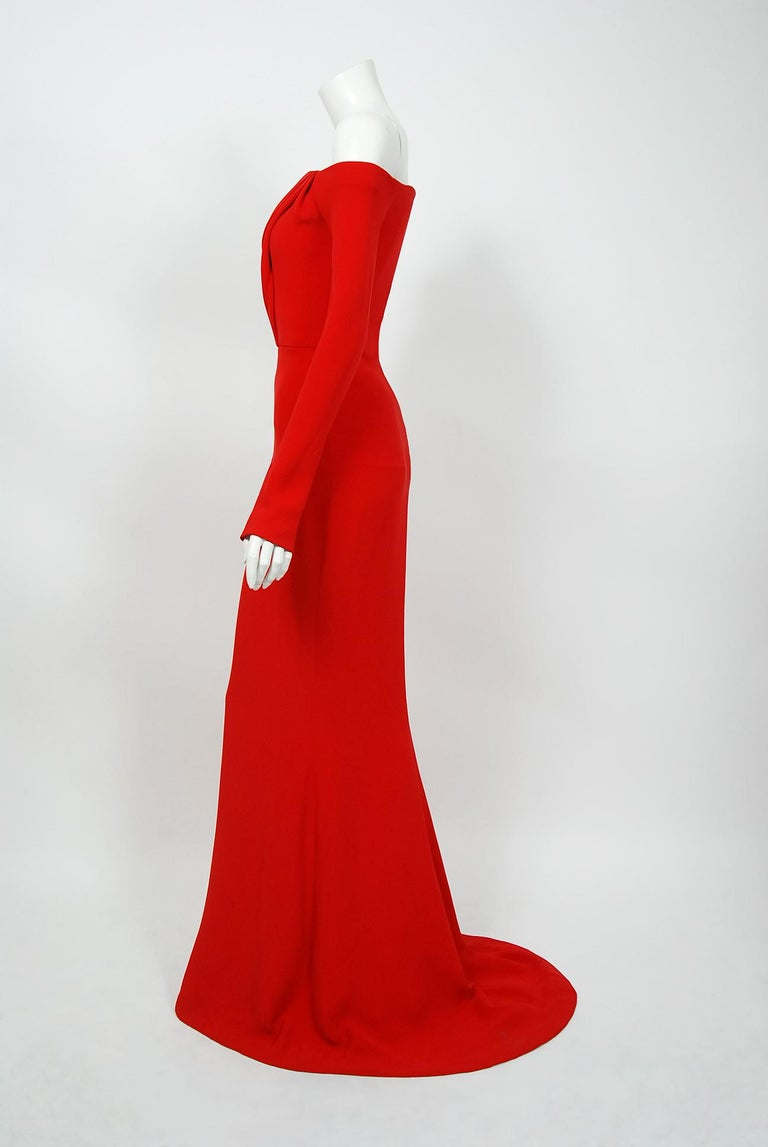 Women's 2004 Jean-Louis Scherrer Couture Red Silk Crepe Draped Off-Shoulder Trained Gown For Sale