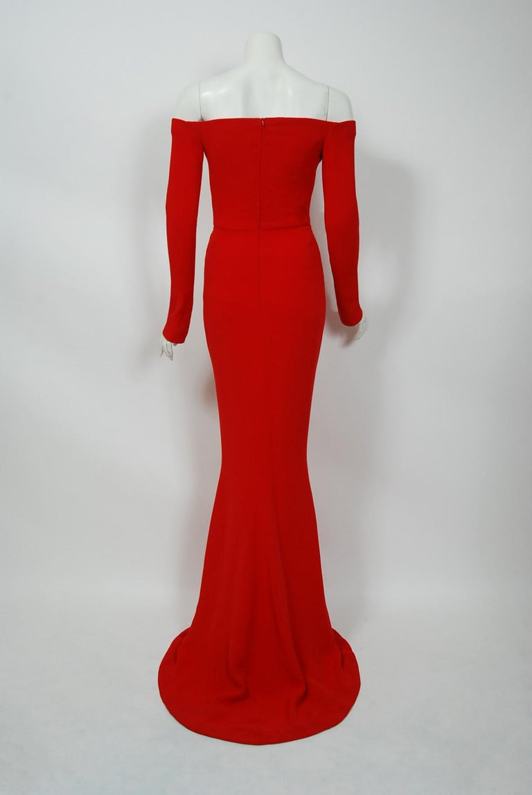 2004 Jean-Louis Scherrer Couture Red Silk Crepe Draped Off-Shoulder Trained Gown For Sale 1