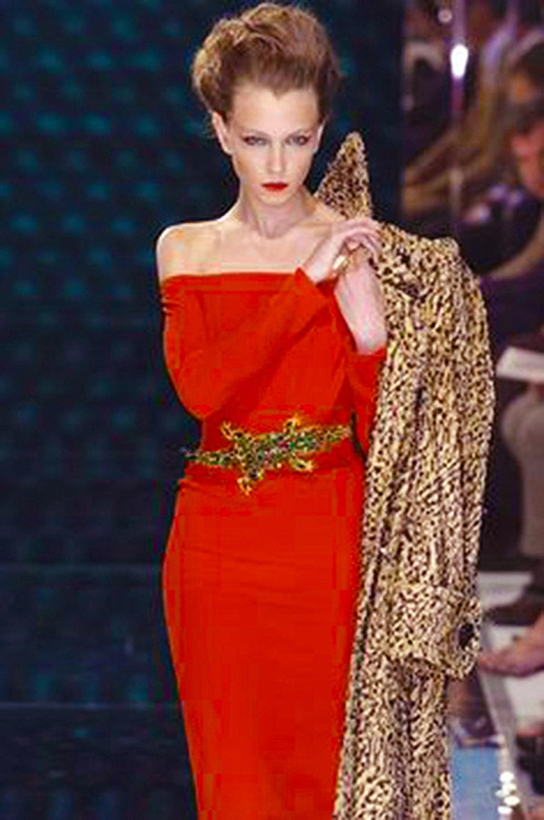 2004 Jean-Louis Scherrer Couture Red Silk Crepe Draped Off-Shoulder Trained Gown For Sale 3