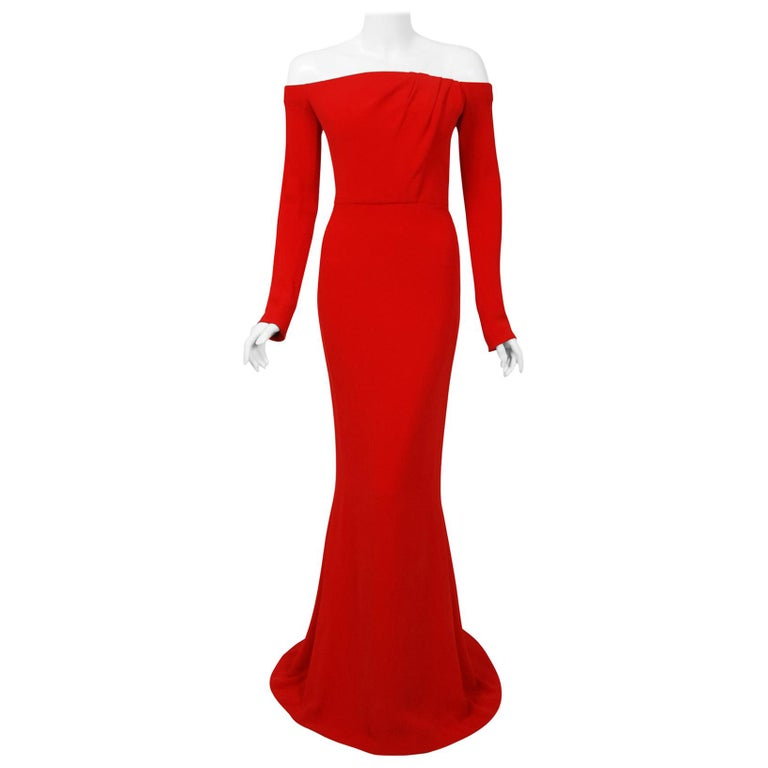 2004 Jean-Louis Scherrer Couture Red Silk Crepe Draped Off-Shoulder Trained Gown For Sale