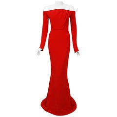 2004 Jean-Louis Scherrer Couture Red Silk Crepe Draped Off-Shoulder Trained Gown