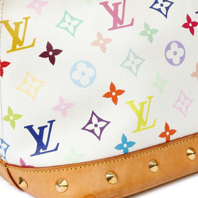2004 Louis Vuitton White Multicolore Monogram Canvas & Vachetta Murakami Alma For Sale 8