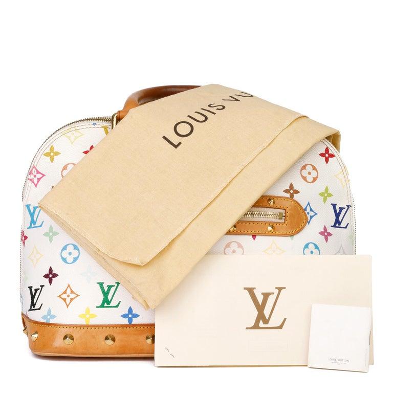 2004 Louis Vuitton White Multicolore Monogram Canvas & Vachetta Murakami Alma For Sale 11