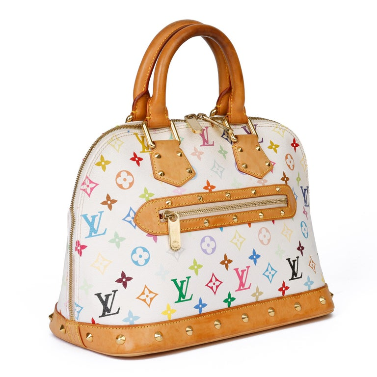 LOUIS VUITTON White Multicolore Monogram Coated Canvas & Vachetta Leather Murakami Alma  Xupes Reference: CB313 Serial Number: FL0074 Age (Circa): 2004 Accompanied By: Louis Vuitton Dust Bag, Care Booklet, Invoice Authenticity Details: Date Stamp
