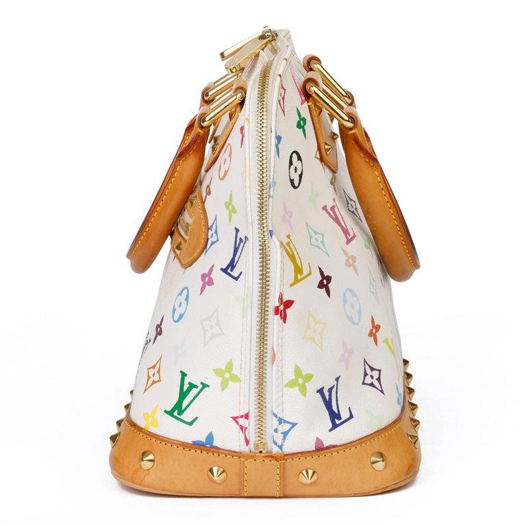 Women's 2004 Louis Vuitton White Multicolore Monogram Canvas & Vachetta Murakami Alma For Sale