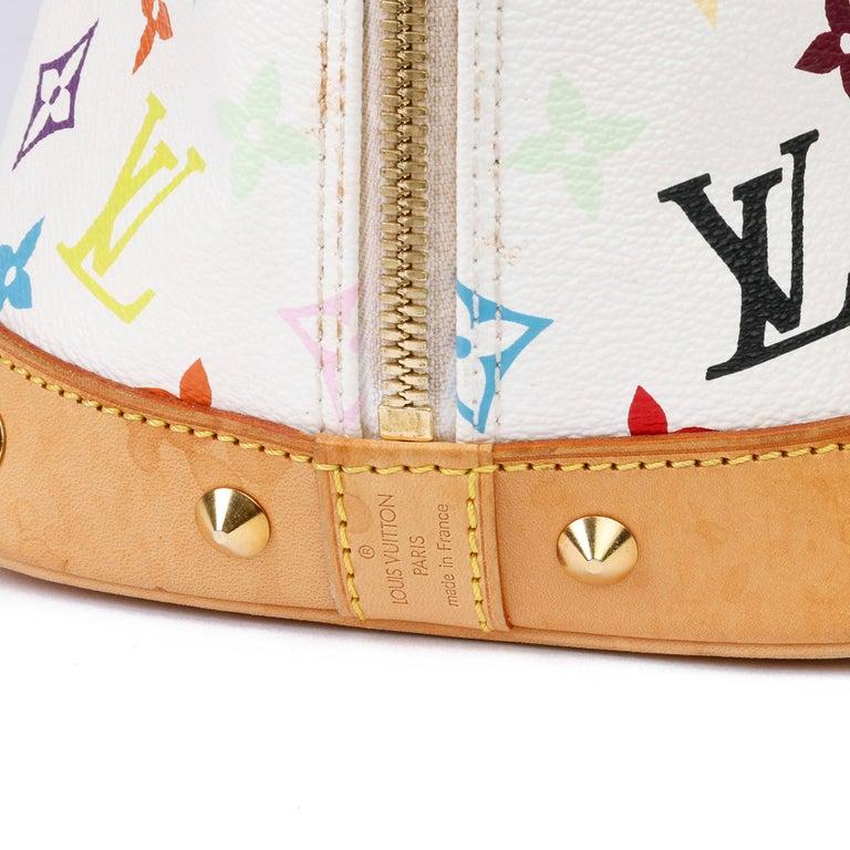 2004 Louis Vuitton White Multicolore Monogram Canvas & Vachetta Murakami Alma For Sale 5