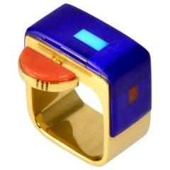 2004 Richard Chavez Lapis Lazuli Coral Dolomite Turquoise Gold Ring