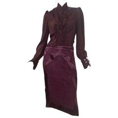 2004 Vintage Tom Ford for Yves Saint Laurent Burgundy Silk Chinoiserie Suit