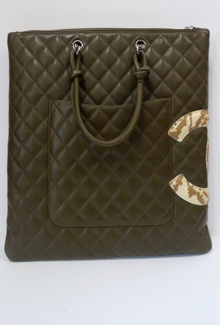 9c0a111a184c Women's or Men's 2005 Chanel Cambon Olive Green Leather Tote Bag For Sale