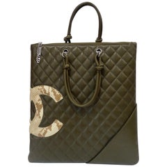 2005 Chanel Cambon Olive Green Leather Tote Bag