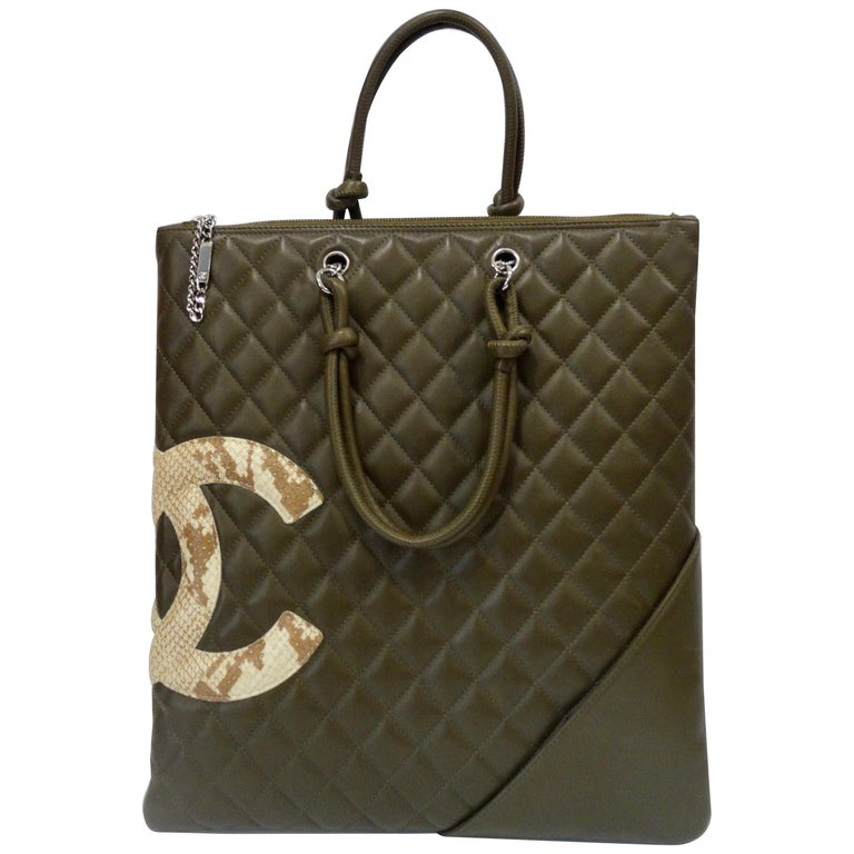 059fb09d0245 2005 Chanel Cambon Olive Green Leather Tote Bag For Sale at 1stdibs