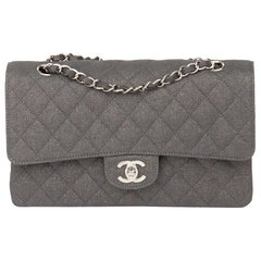 2005 Chanel Grey Quilted Metallic Canvas Medium Classic Double Flap Bag
