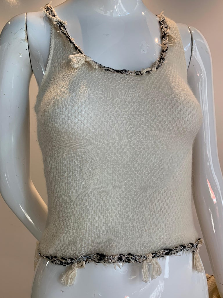 2005 Chanel Logo Summer Cashmere Knit Tank & Matching Cardigan in Eggshell For Sale 2