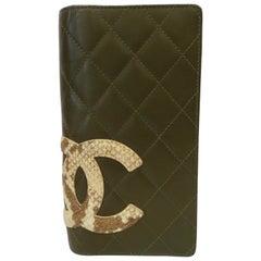 2005 Chanel Olive Green Lambskin Bi-Fold Wallet