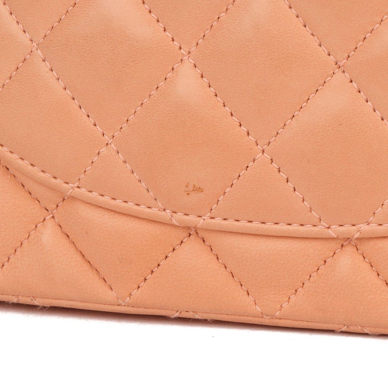 2005 Chanel Peach Quilted Lambskin Leather Vintage Mini Flap Bag  For Sale 6