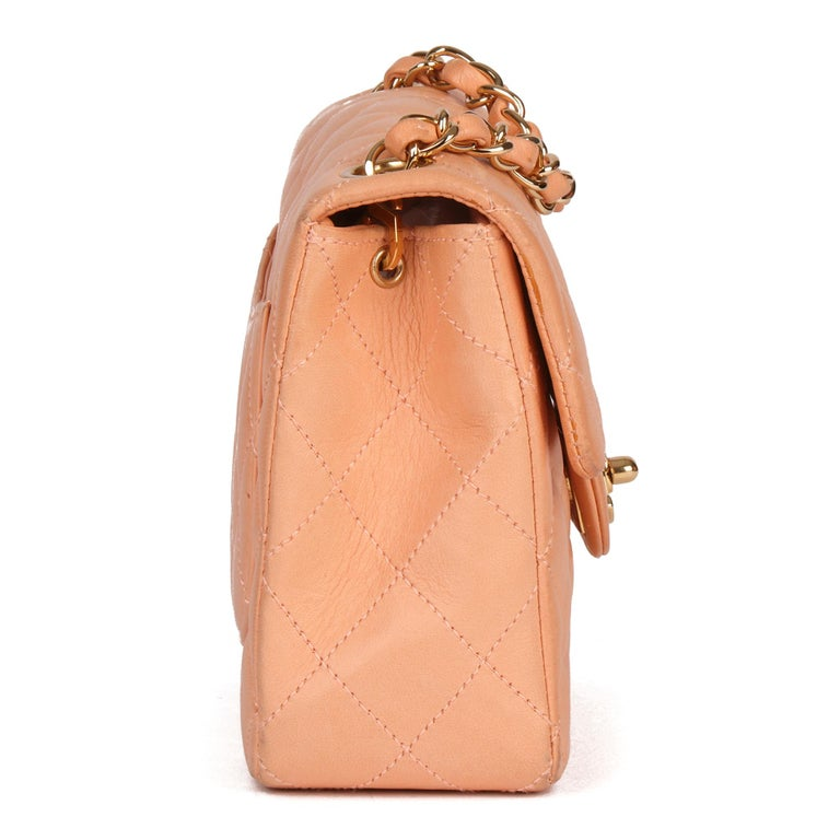 2005 Chanel Peach Quilted Lambskin Leather Vintage Mini Flap Bag  In Good Condition For Sale In Bishop's Stortford, Hertfordshire