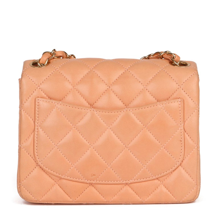 2005 Chanel Peach Quilted Lambskin Leather Vintage Mini Flap Bag  For Sale 1