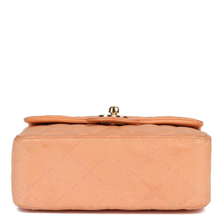 2005 Chanel Peach Quilted Lambskin Leather Vintage Mini Flap Bag  For Sale 2