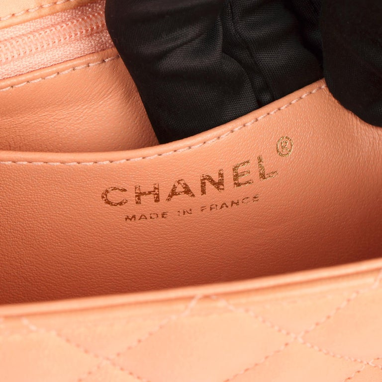 2005 Chanel Peach Quilted Lambskin Leather Vintage Mini Flap Bag  For Sale 3