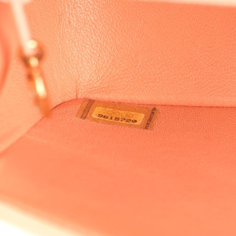 2005 Chanel Peach Quilted Lambskin Leather Vintage Mini Flap Bag  For Sale 4