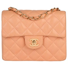 2005 Chanel Peach Quilted Lambskin Leather Vintage Mini Flap Bag