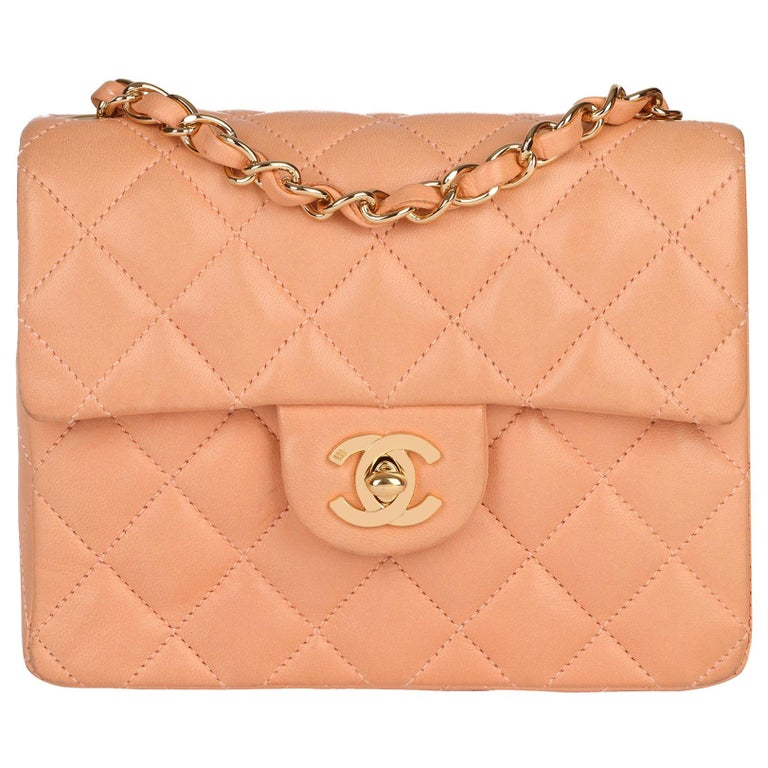 2005 Chanel Peach Quilted Lambskin Leather Vintage Mini Flap Bag  For Sale