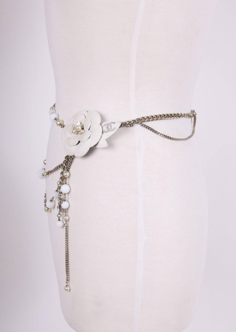 2005 Chanel Silver Tone Chain & Bead Belt w/Metal Camellia w/Pearls For Sale 1