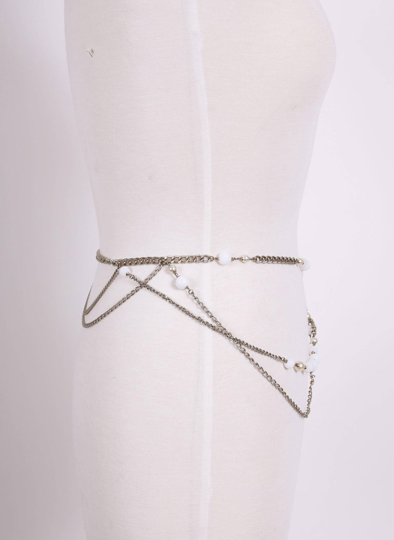 2005 Chanel Silver Tone Chain & Bead Belt w/Metal Camellia w/Pearls For Sale 3