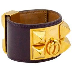 2005 Dark Purple Box Leather Hermes Collier de Chien Cuff