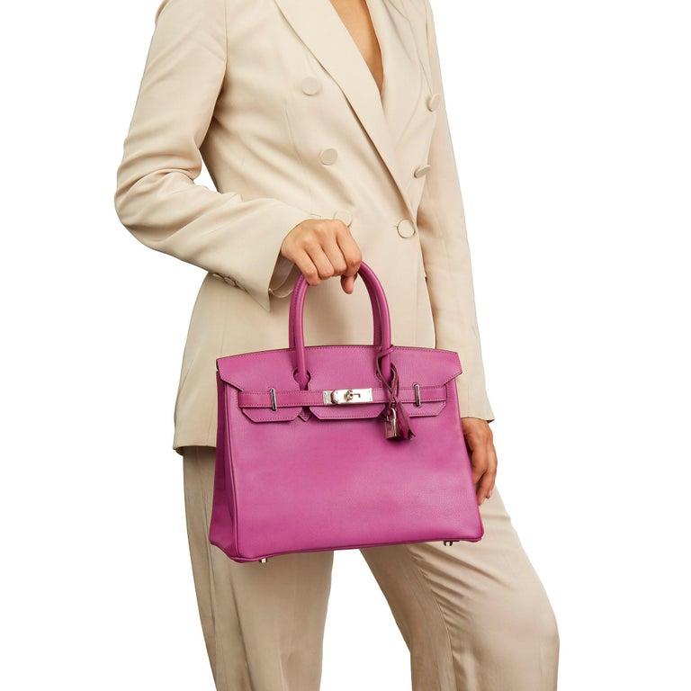 2005 Hermès Cyclamen Epsom Leather Birkin 30cm For Sale 6