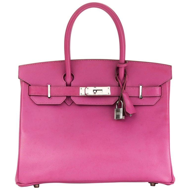 2005 Hermès Cyclamen Epsom Leather Birkin 30cm For Sale