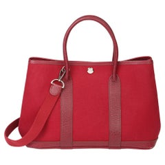 2005 Hermes Rouge imperial Negonda Leather & Tosca Canvas Garden Party TPM