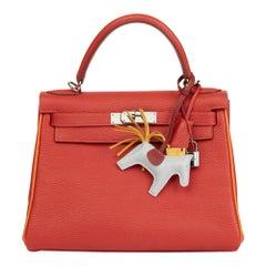 2005 Hermès Rouge Vif & Poitron Togo Leather Special Order Kelly 28cm Retourne