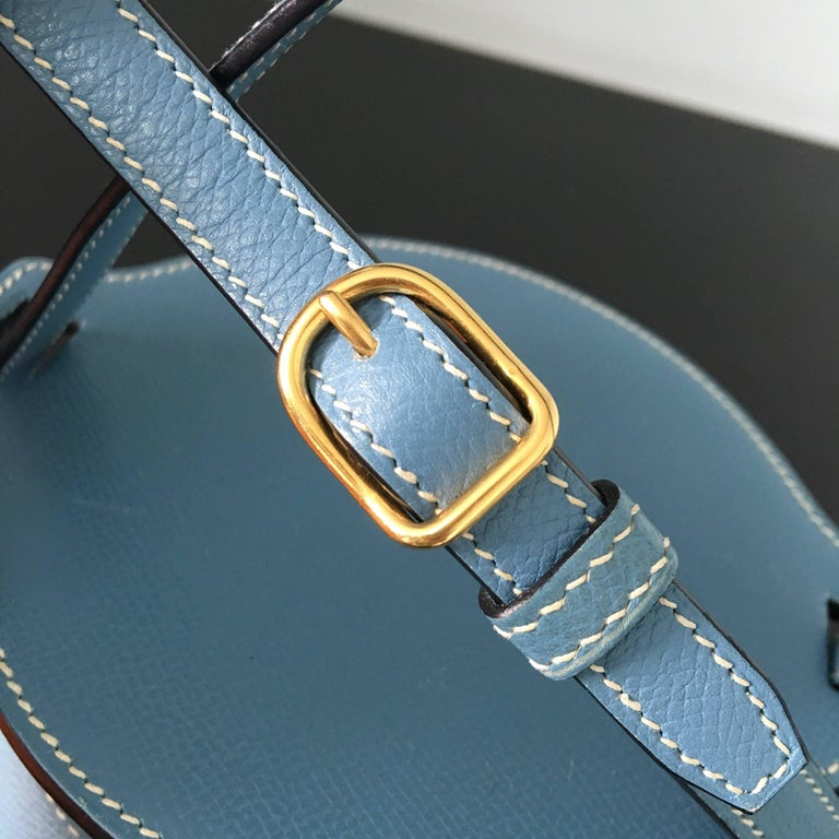 2005 Hermes Sac Farming Blue Jean Veau Epsom Leather Bag in Great Condition For Sale 1