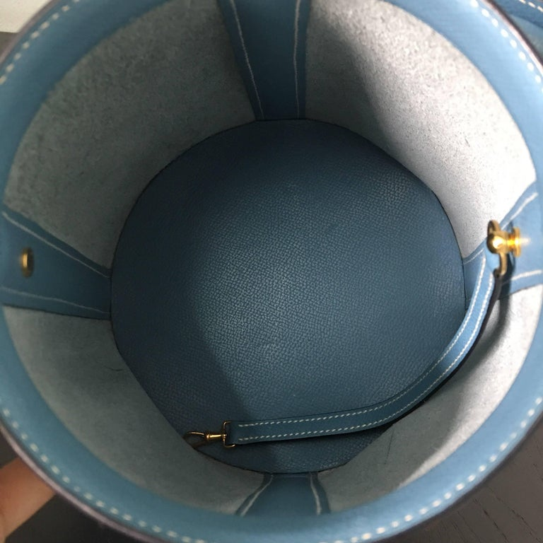 2005 Hermes Sac Farming Blue Jean Veau Epsom Leather Bag in Great Condition For Sale 2