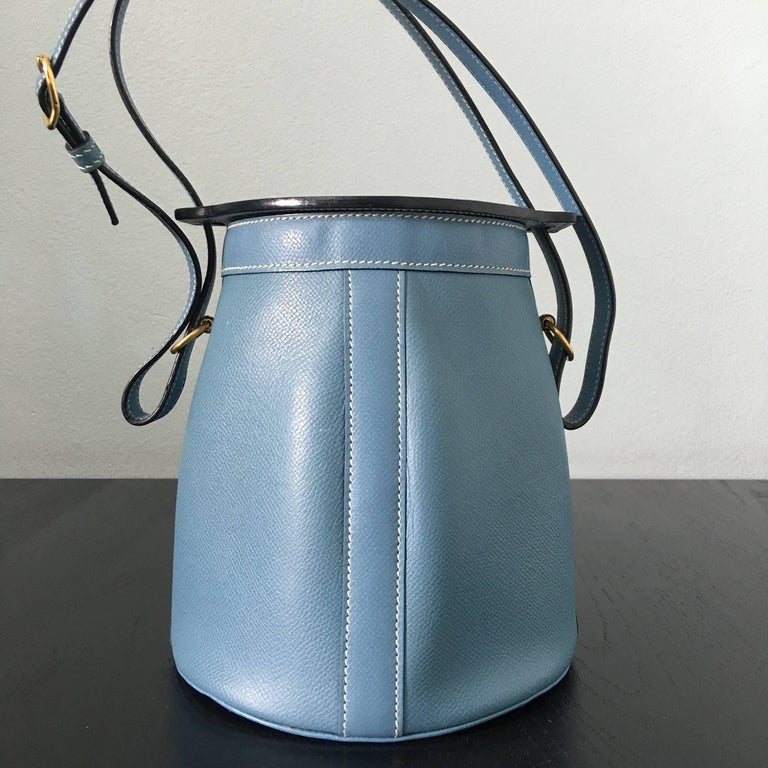 2005 Hermes Sac Farming Blue Jean Veau Epsom Leather Bag in Great Condition For Sale 4
