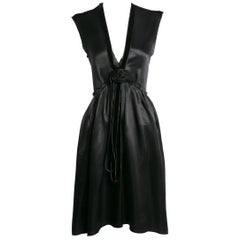 Lanvin Alber Elbaz Plunge Neck Black Satin Velvet Necklace Dress Runway, 2005
