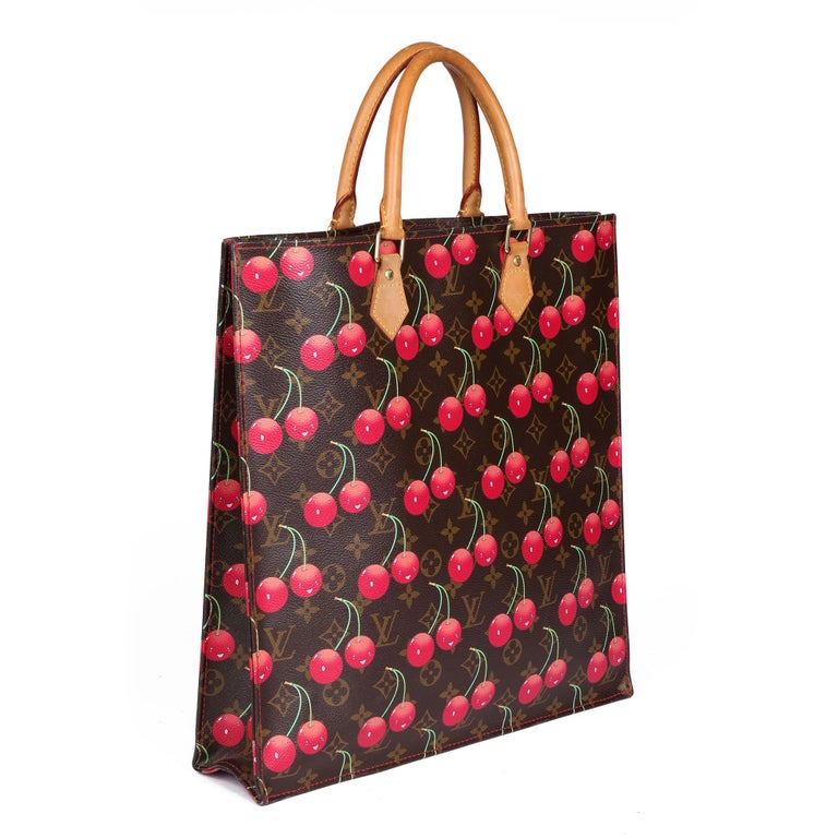 LOUIS VUITTON Cherries Brown Monogram Coated Canvas Murakami Sac Plat  Xupes Reference: CB373 Serial Number: MI 0025 Age (Circa): 2005 Accompanied By: Louis Vuitton Dust Bag Authenticity Details: Date Stamp (Made in France) Gender: Ladies Type: Top
